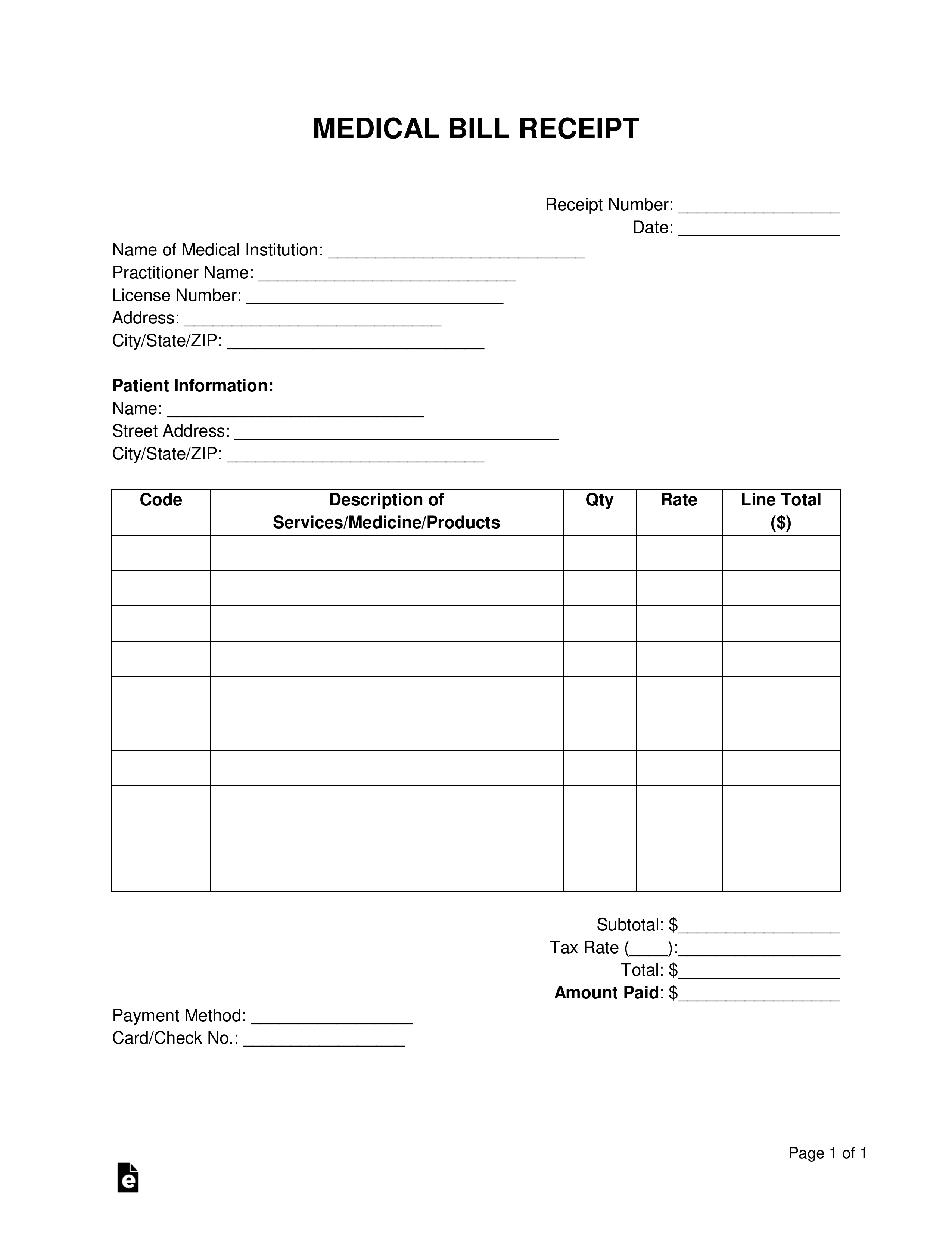 free medical bill receipt template pdf word eforms dr office receipt templates