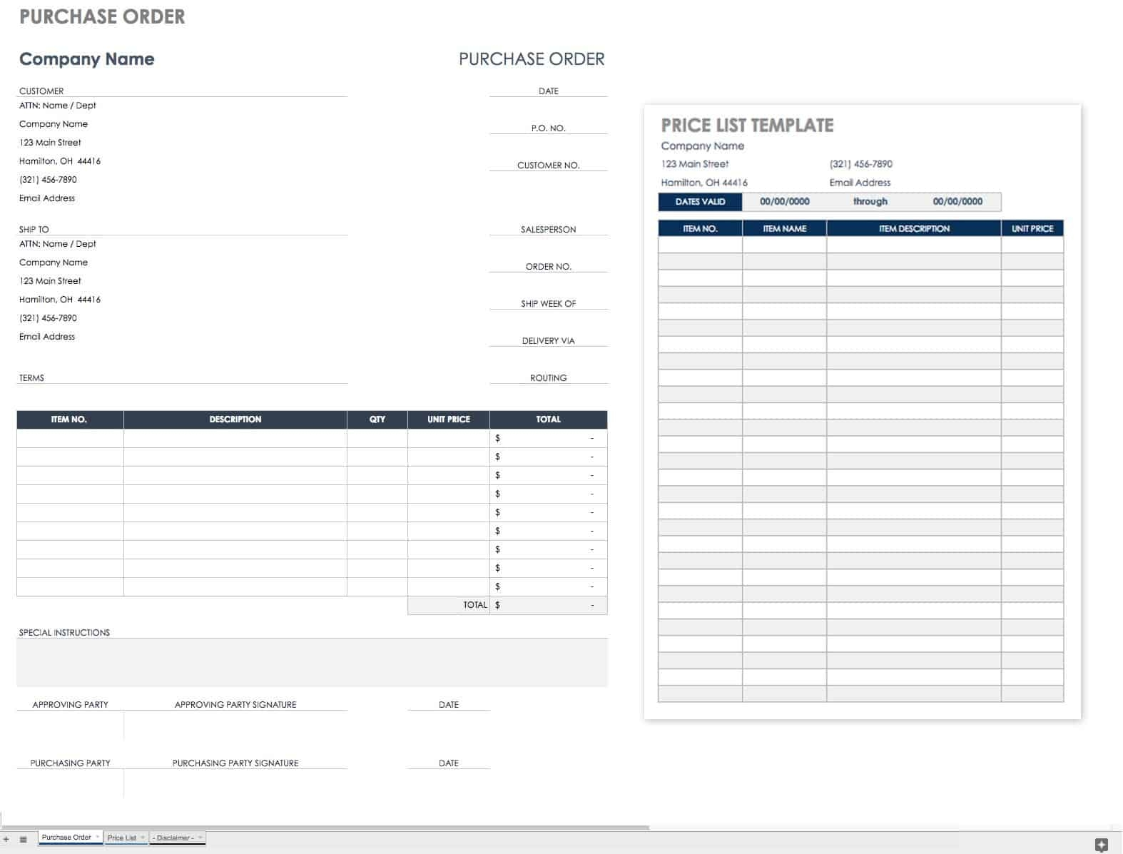 free purchase order templates smartsheet truck the price template