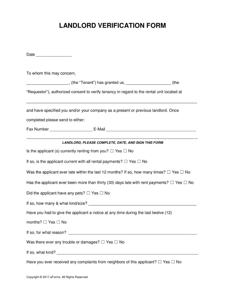 free rent landlord verification form word pdf eforms reject invoice template landlrod