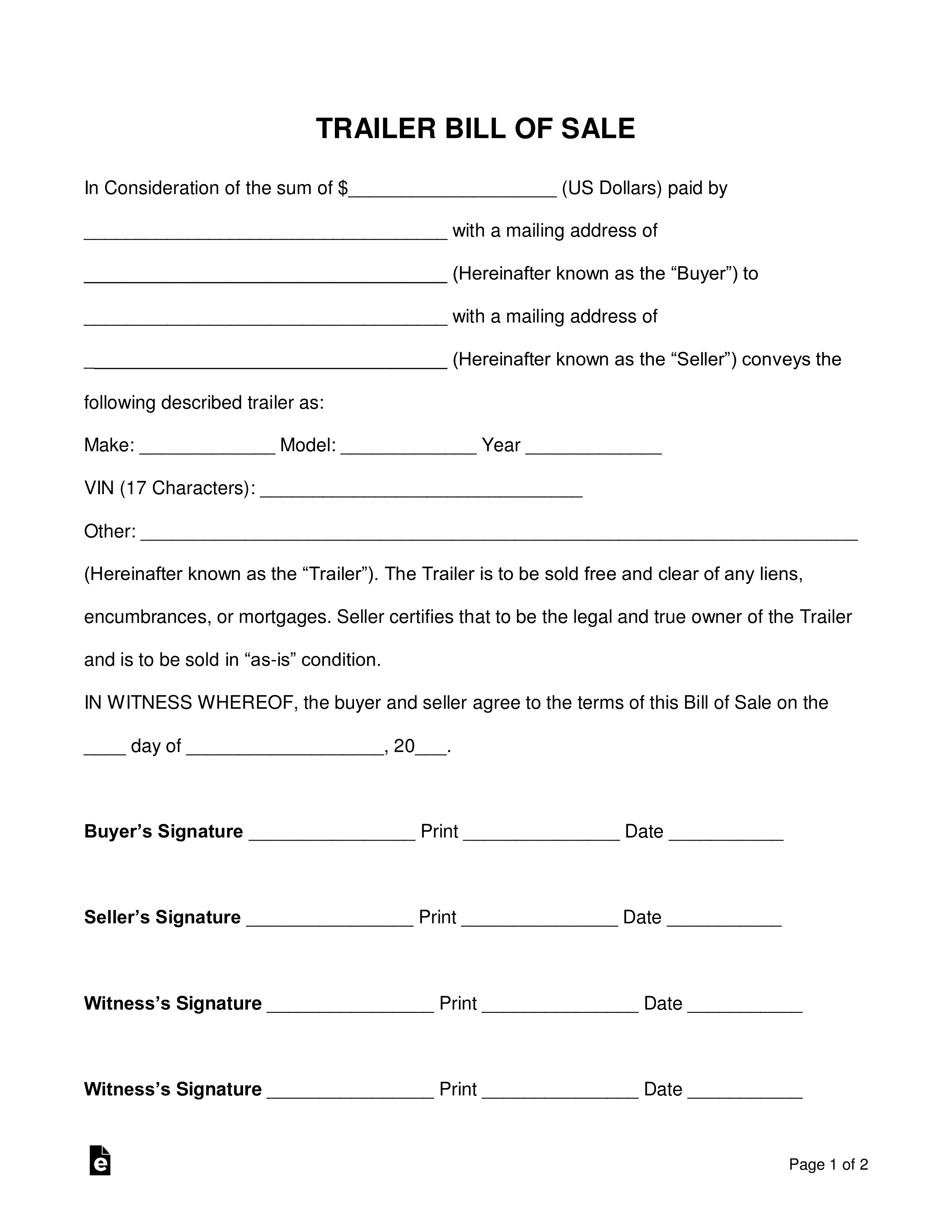 free trailer bill of sale form word pdf eforms free 53 foot trailer rental invoice template