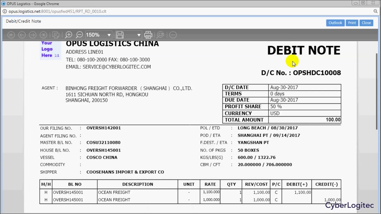 logistics training debitcredit note for oversea transaction photo of a debit note