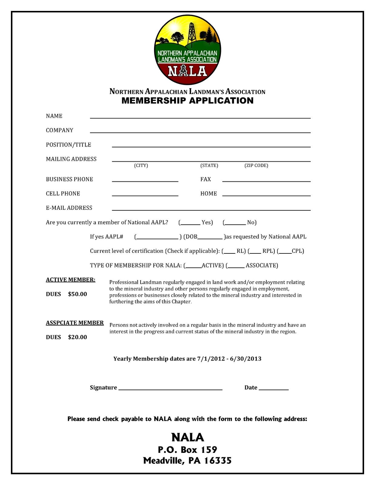 northern appalachian landmans association membership association membership form sample