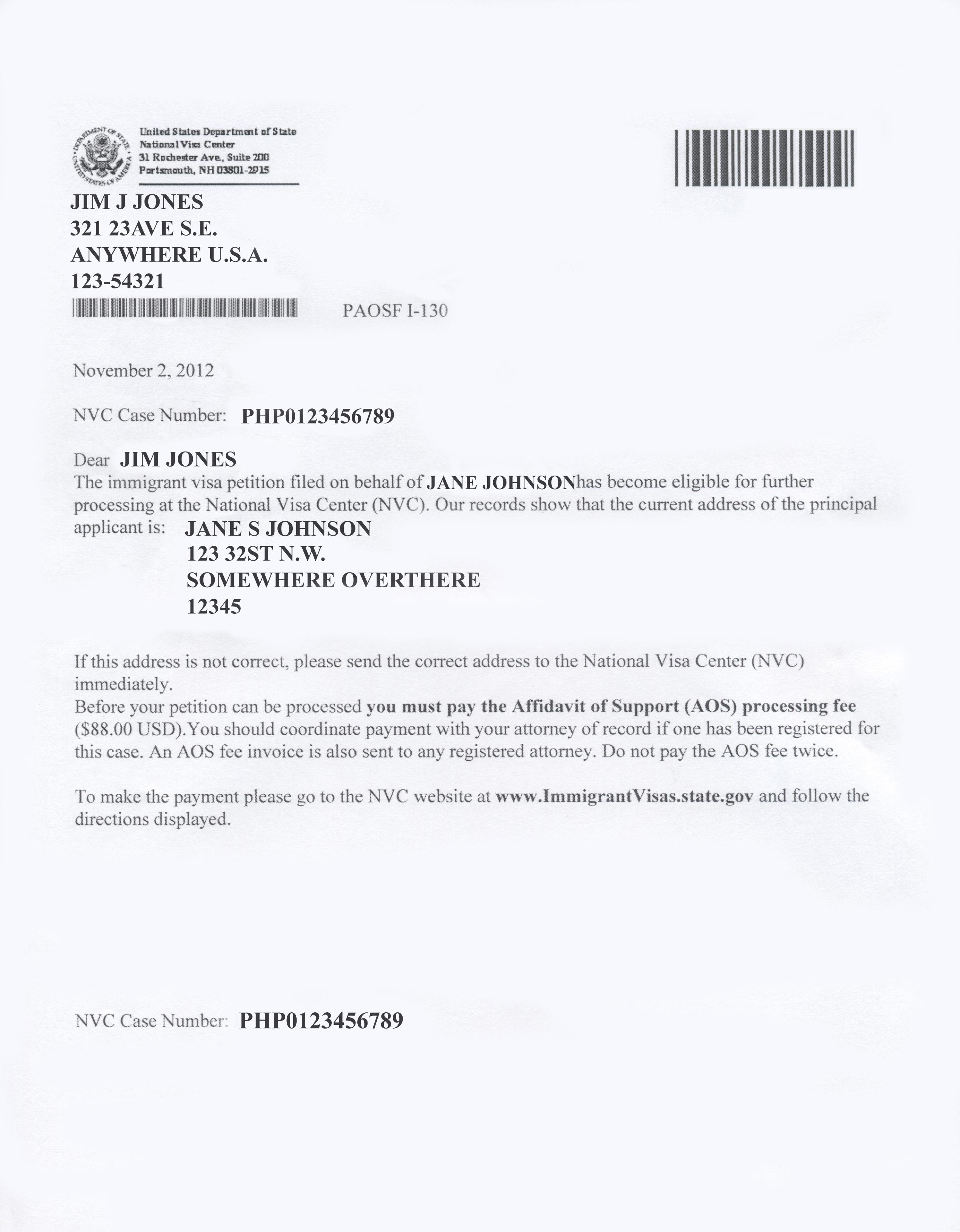 Nvc Visa Fee Bill  Invoice Template Ideas