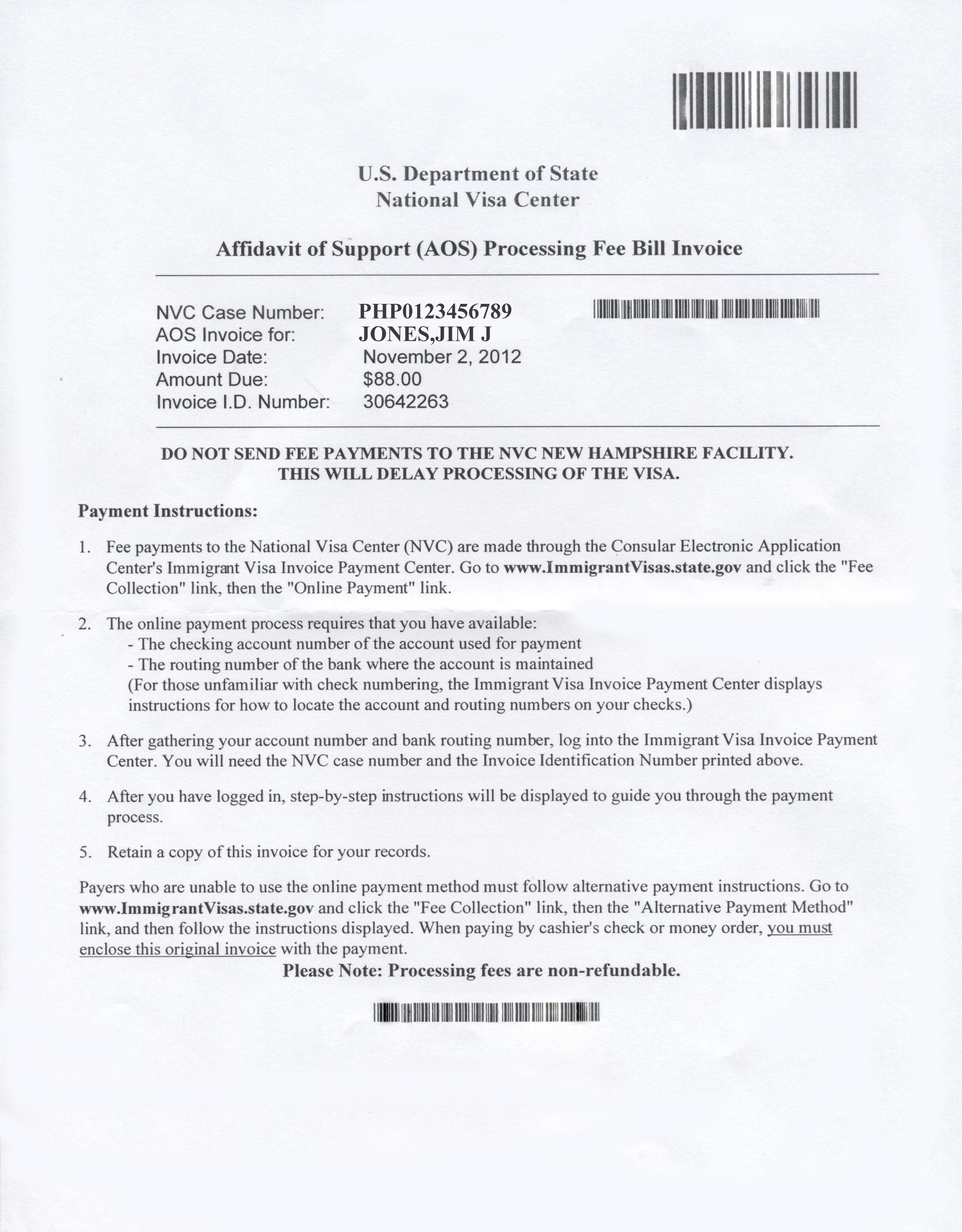 our visa process nvc visa fee bill