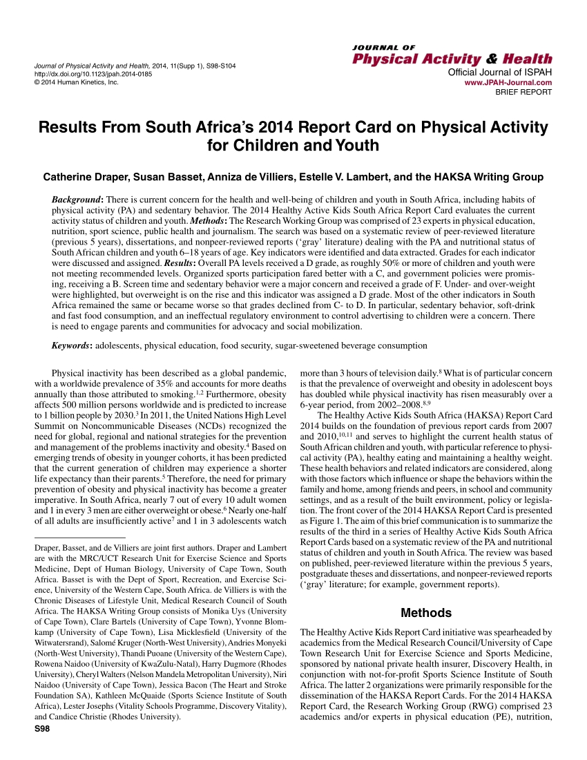 pdf results from south africas 2014 report card on example of a school report at south africa