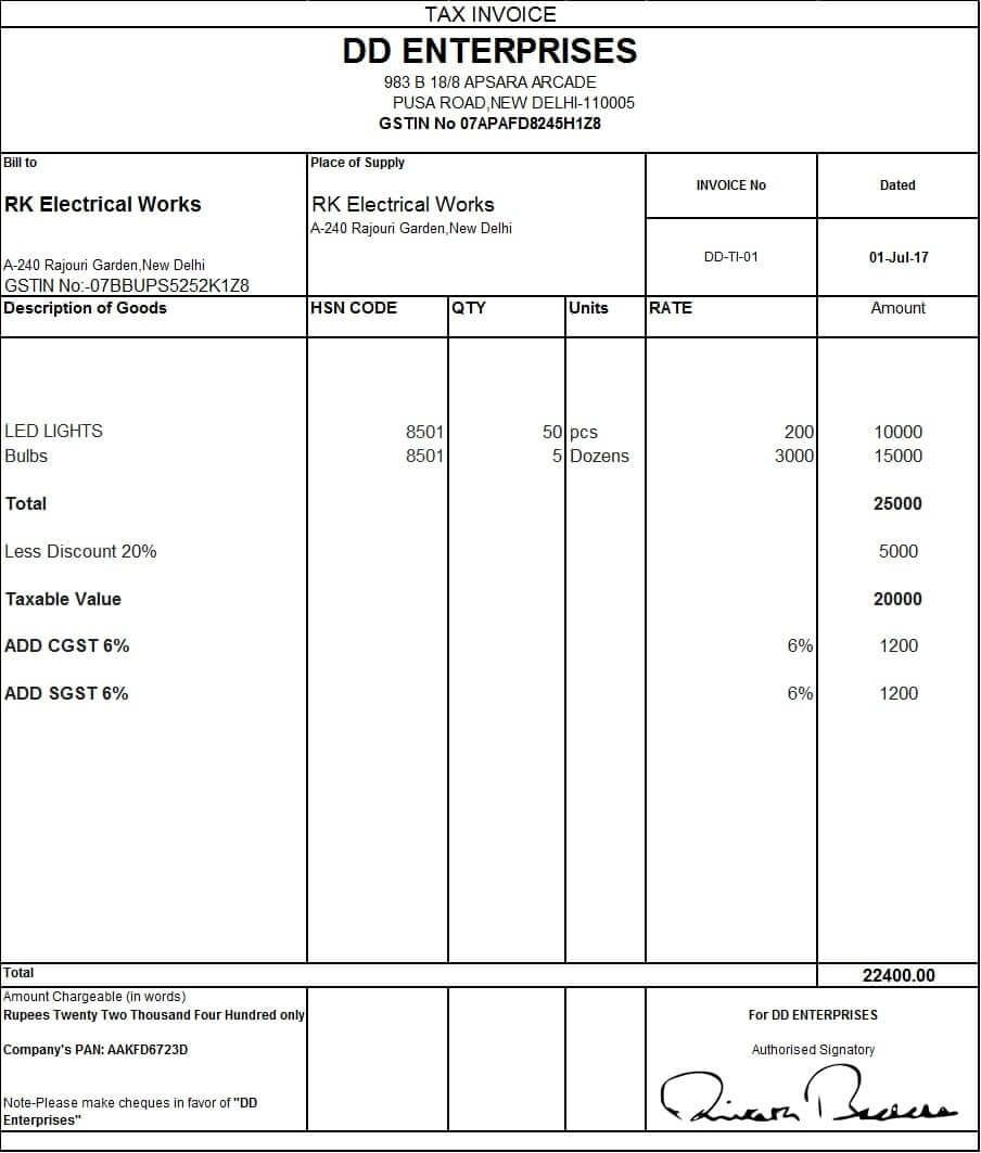 pin nand kishore soni on excel invoice format invoice gst invoice format jul 2017