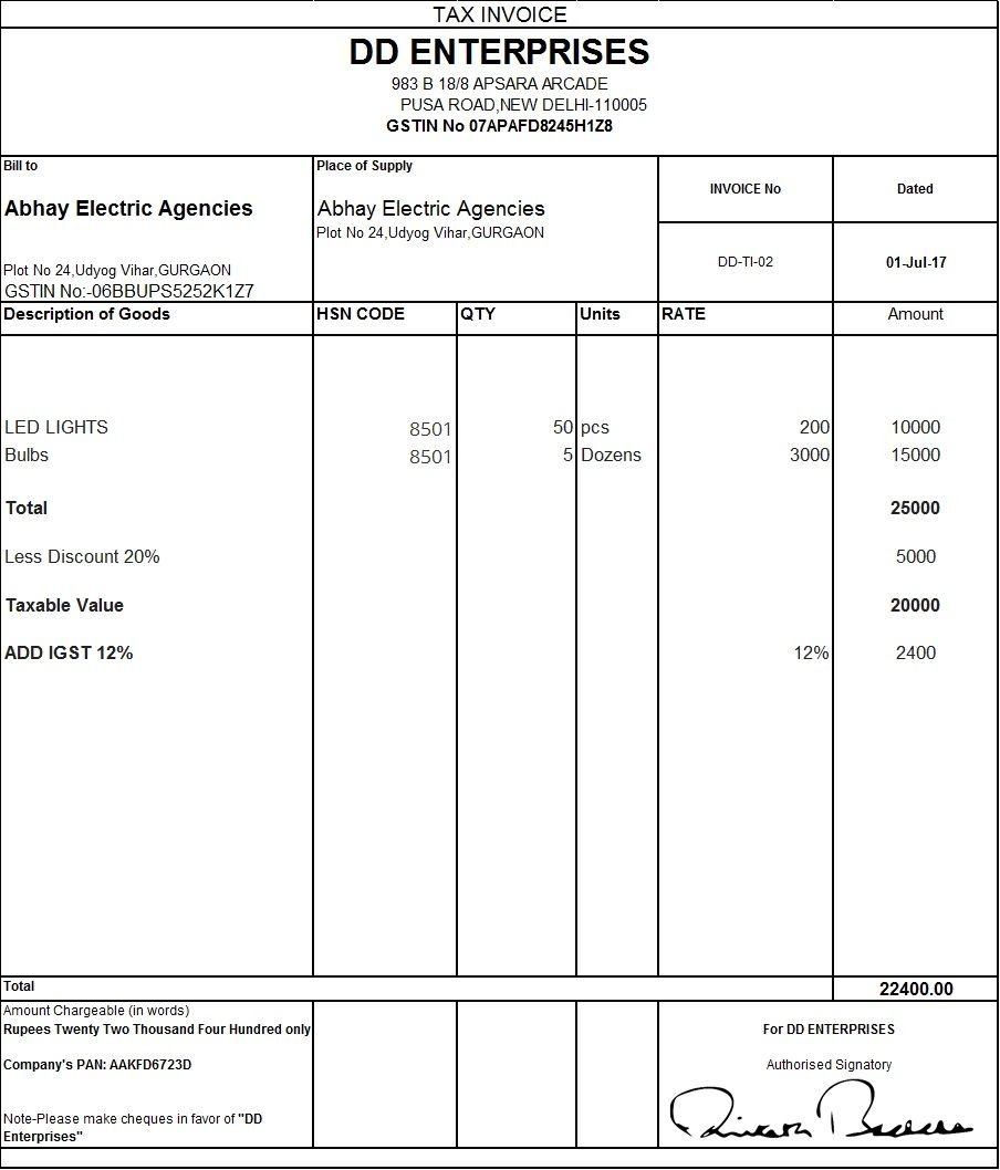 pin nitesh on excel invoice format invoice format in gst invoice format jul 2017