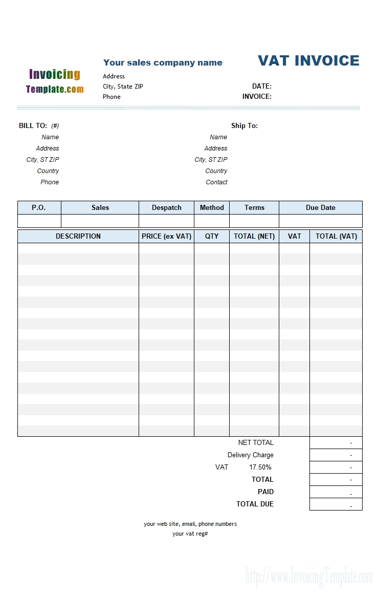 sales invoice template credit sales invoice template