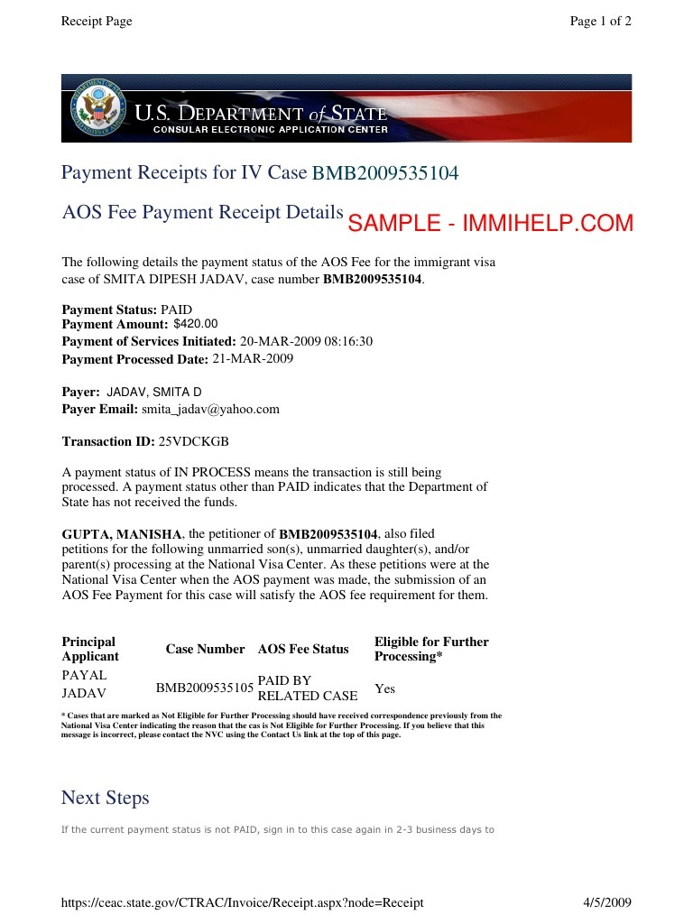 sample affadivt of support aos fee payment receipts invoice for paying visa fee