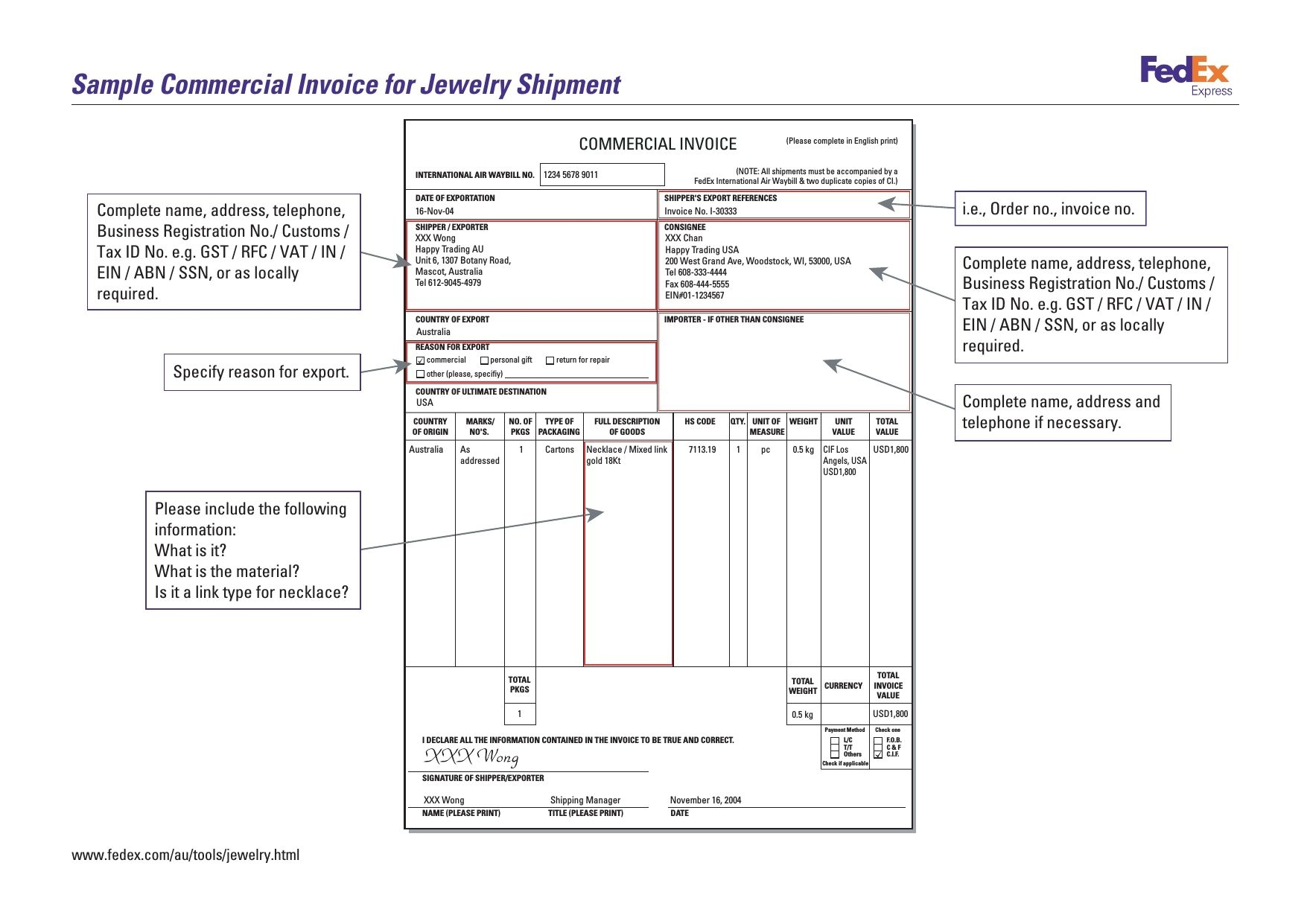 sample commercial invoice for jewelry shipment no commercial invoice no commercial value