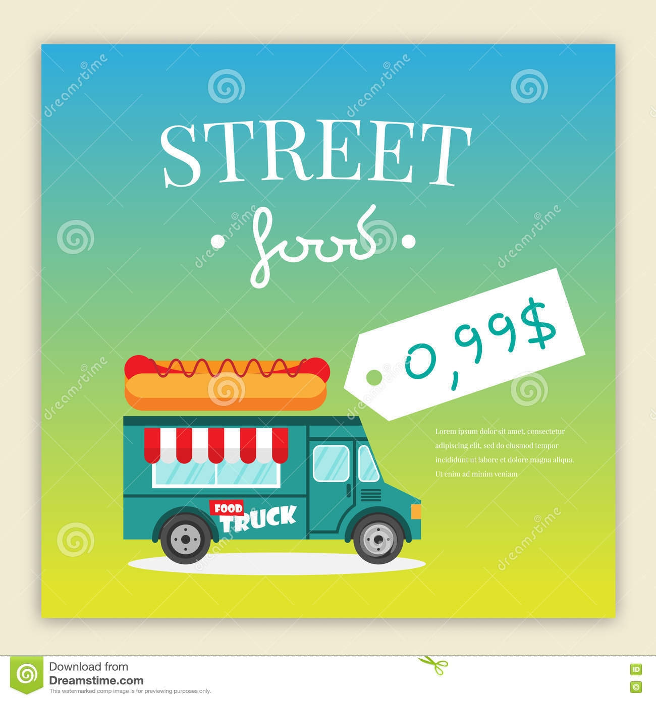 street food truck vector illustration stock vector truck the price template