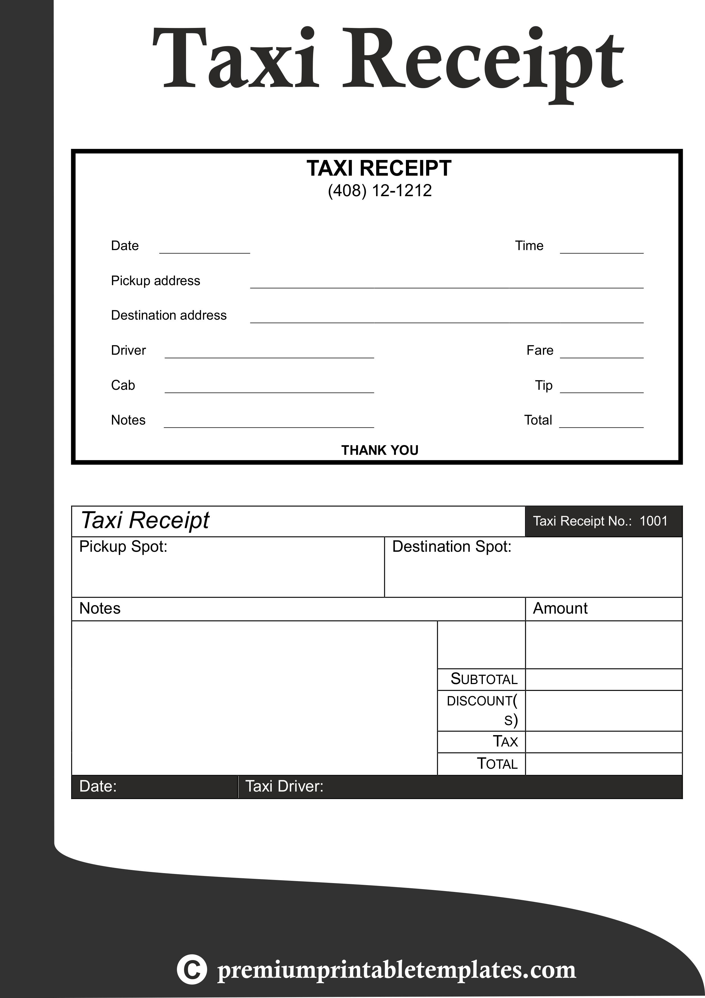 taxi receipt templates receipt template templates taxi service invoice template