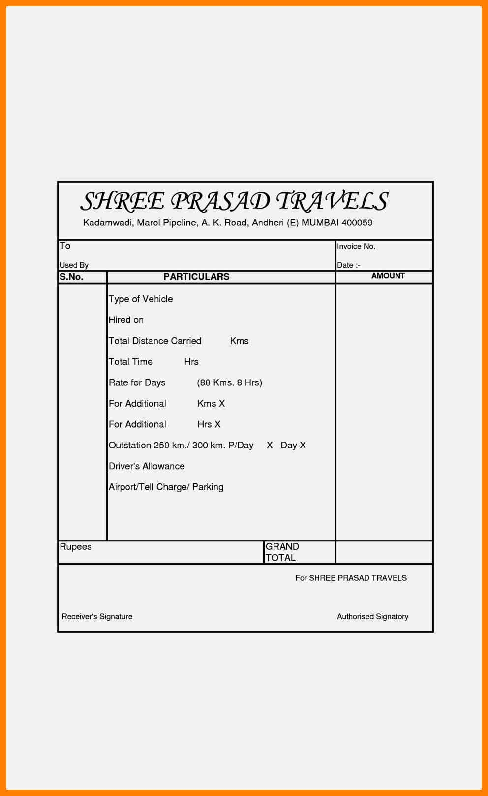 travel bill format kozenjasonkellyphotoco travels bill format with gst