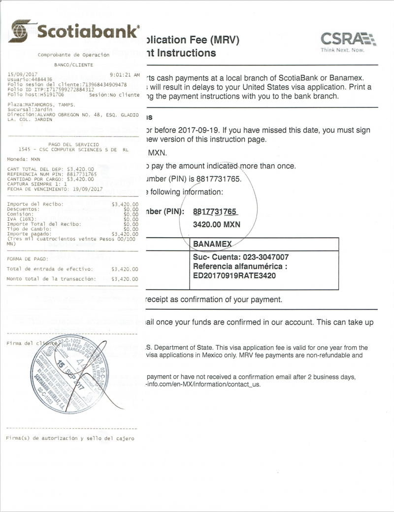 usvisamex us visa application fee payment service invoice for paying visa fee