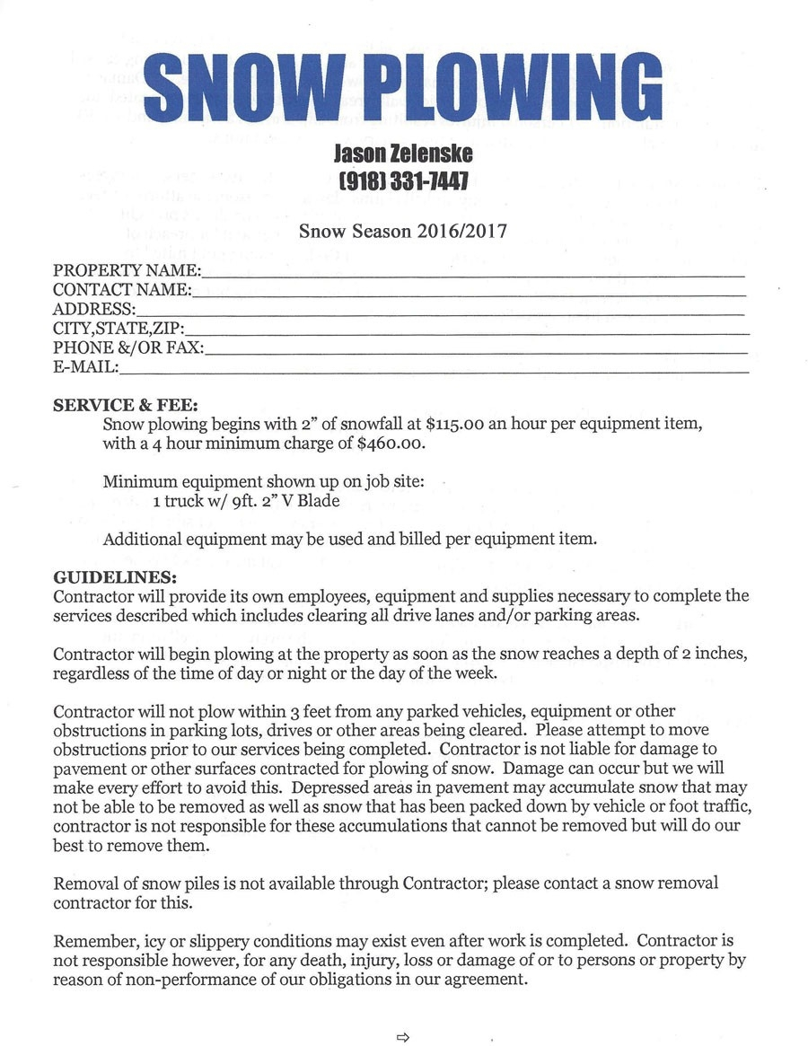 002 sample of commercial snow removal contract template basic snow plow contract free