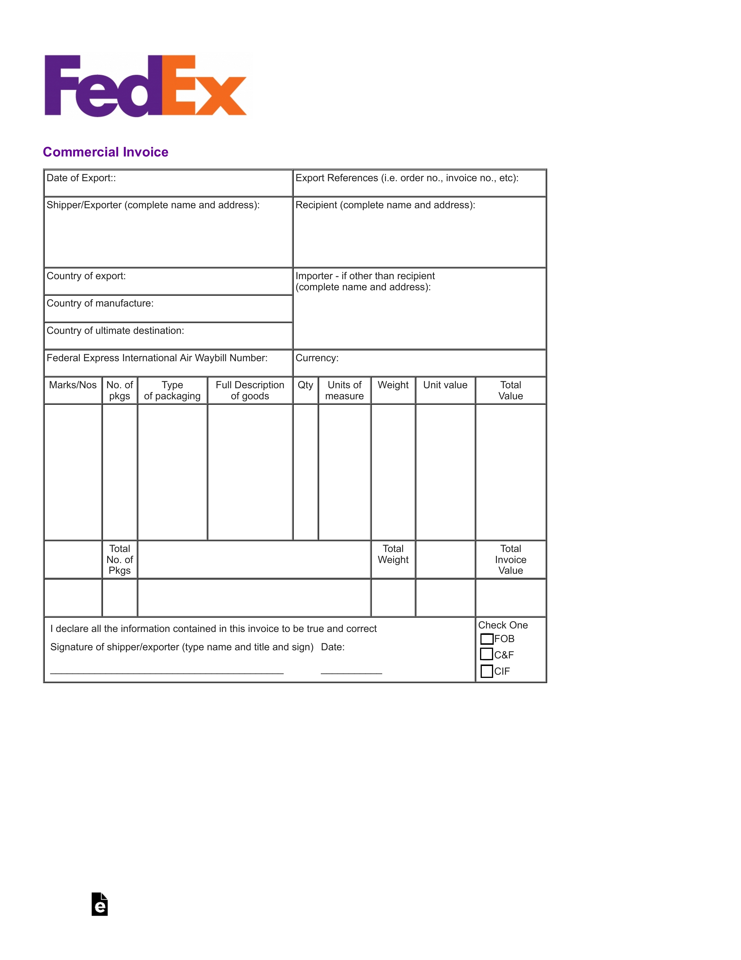 004 commercial invoice template pdf fillable fedex fedex international commercial invoice fillable