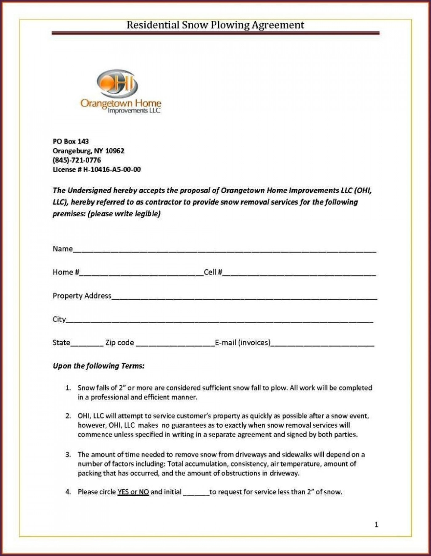 017 beautiful best of snow plow proposal forms removal basic snow plow contract free