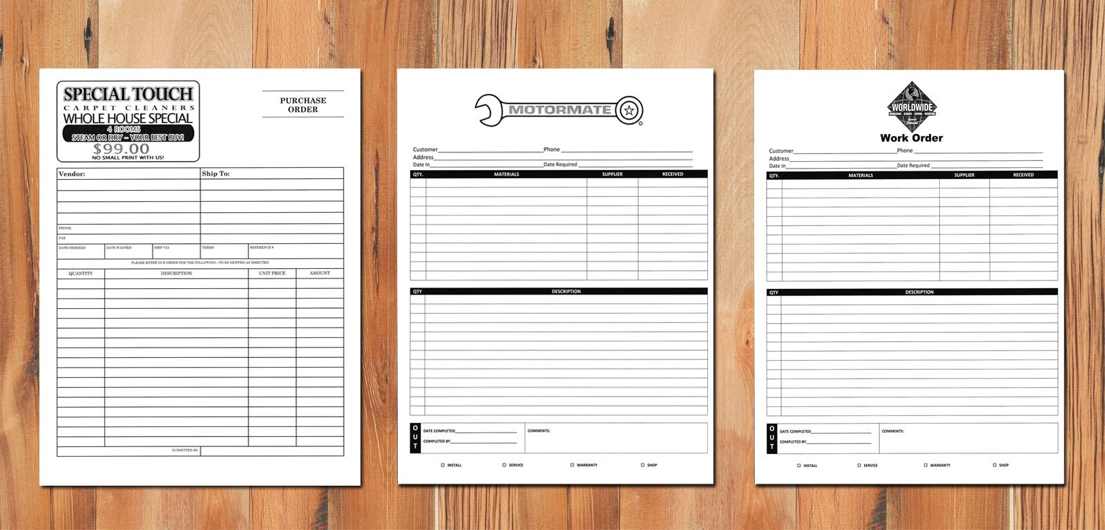3 part invoices carbonless invoices with carbon copies