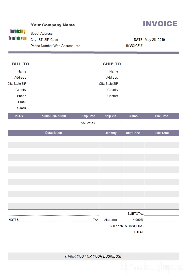 4 column invoice templates simple invoices with tax