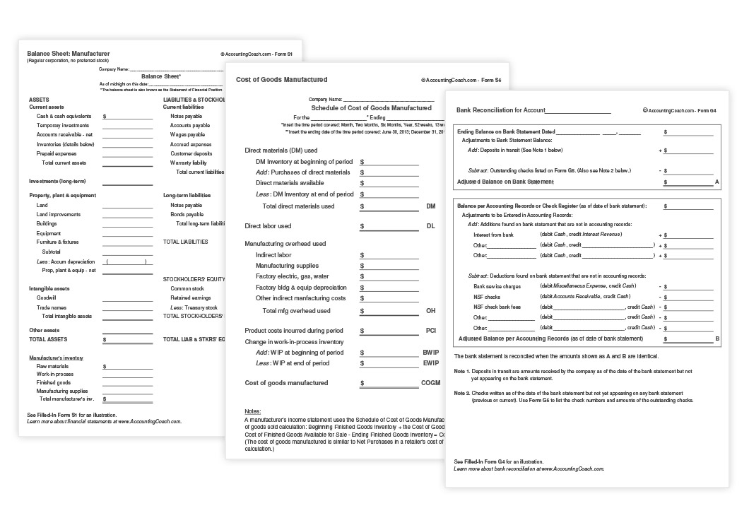 accounting business forms and templates accountingcoach proformas of all accounts