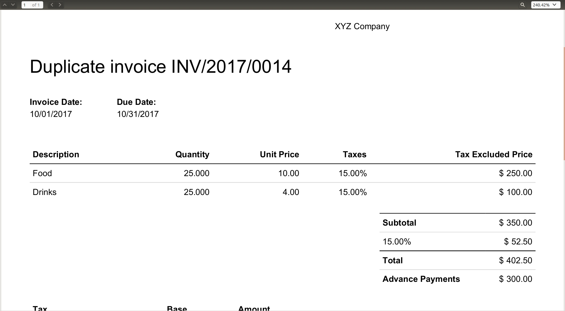 advance payments odoo apps invoice payment 50 advance