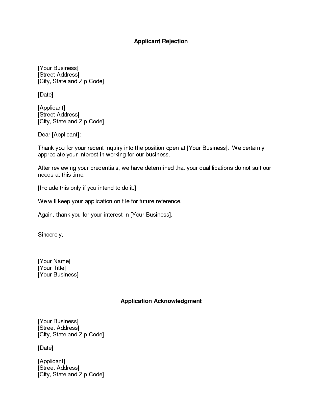 business rejection letter rejection of proposal free invoice rejection letter template