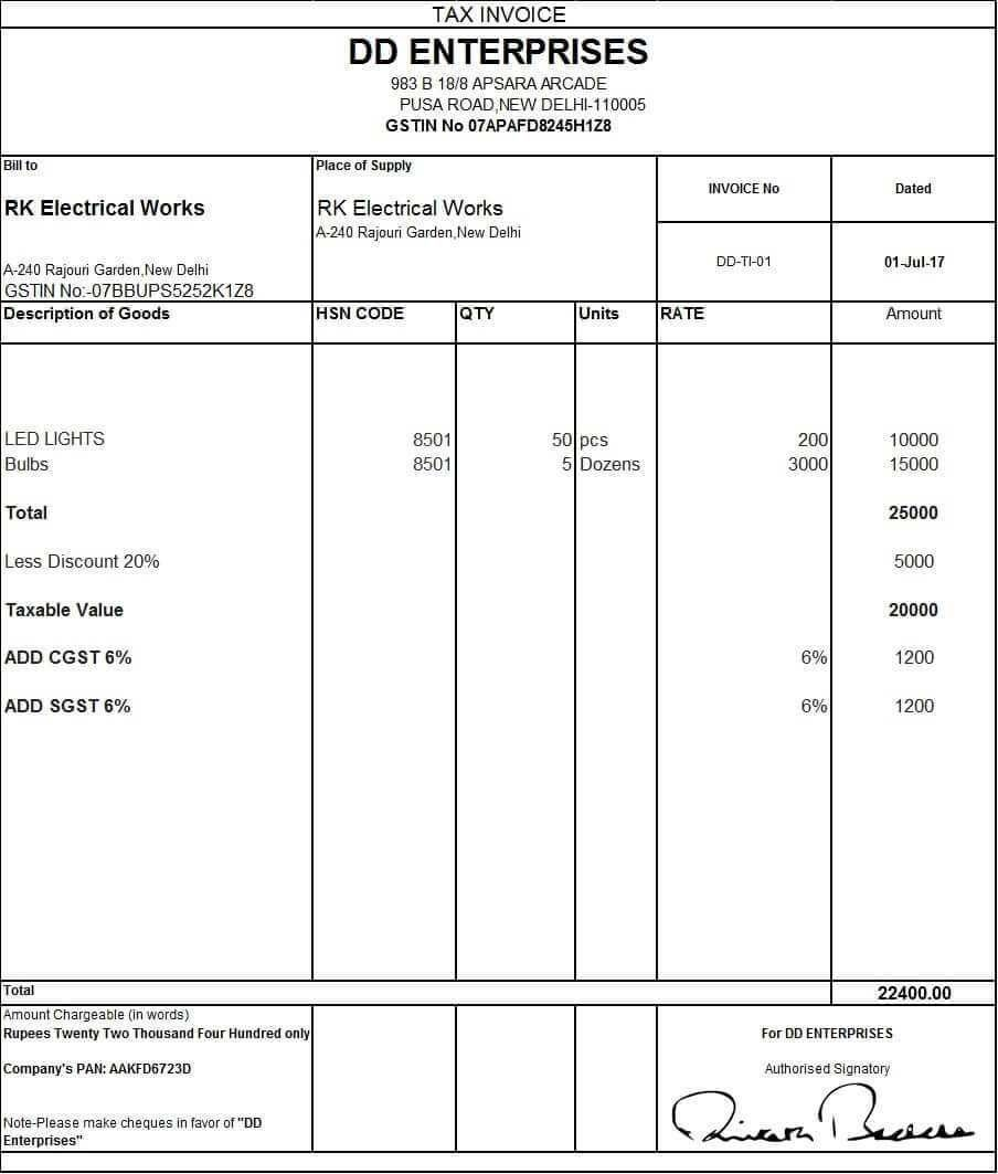 download excel format of tax invoice in gst gst invoice example of gst bill book