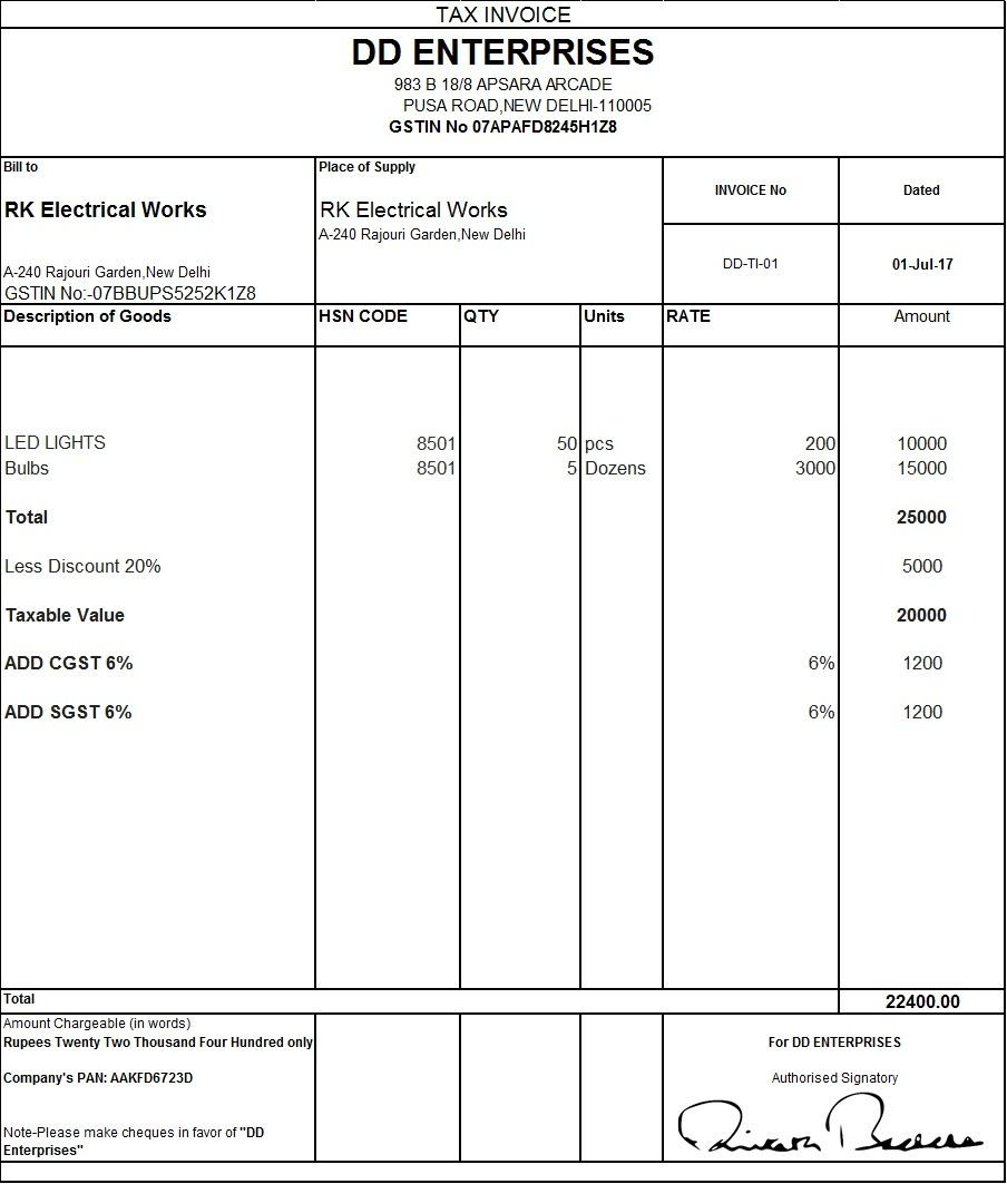 download excel format of tax invoice in gst invoice format indian gst invoice format