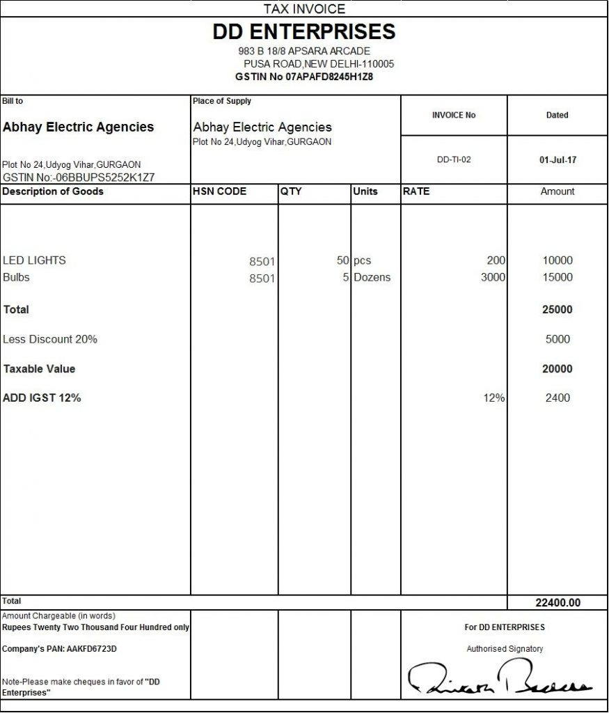 dynamic invoice gst format in tally excel tax erp bill format of gst bill