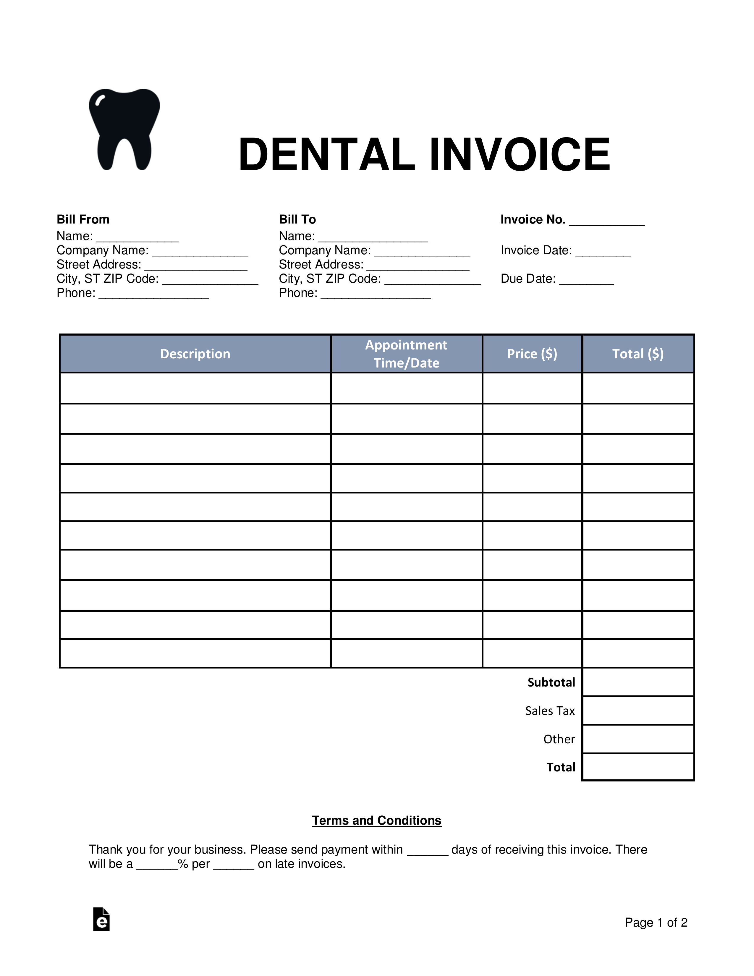 free dental invoice template word pdf eforms free dental lab monthly bill format