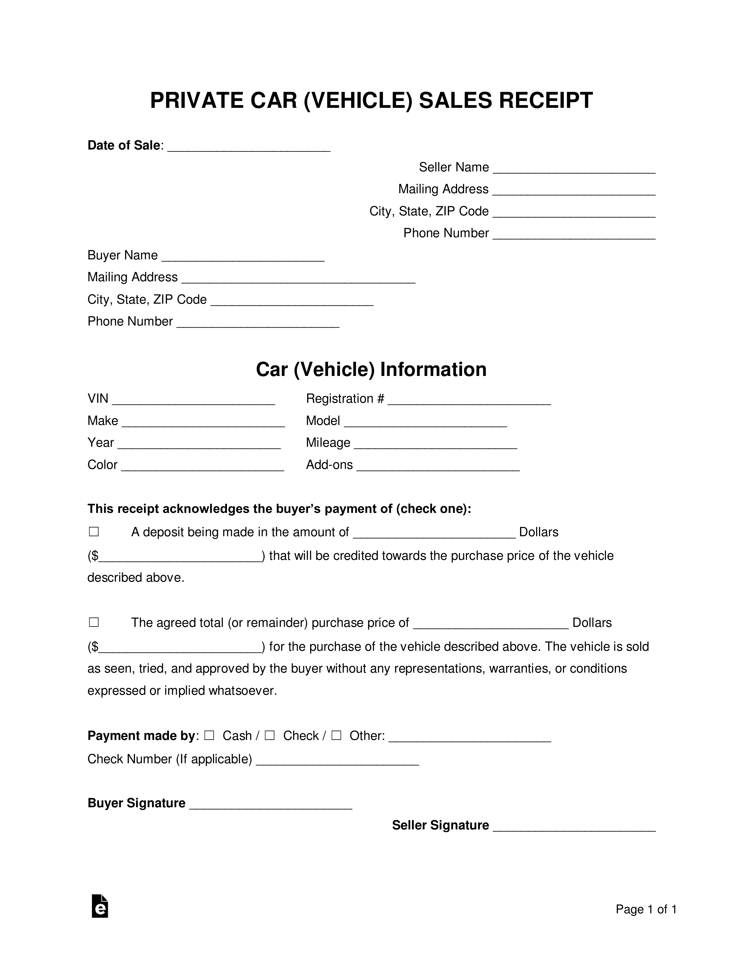 free vehicle private sale receipt template pdf word cash sale of car receipt