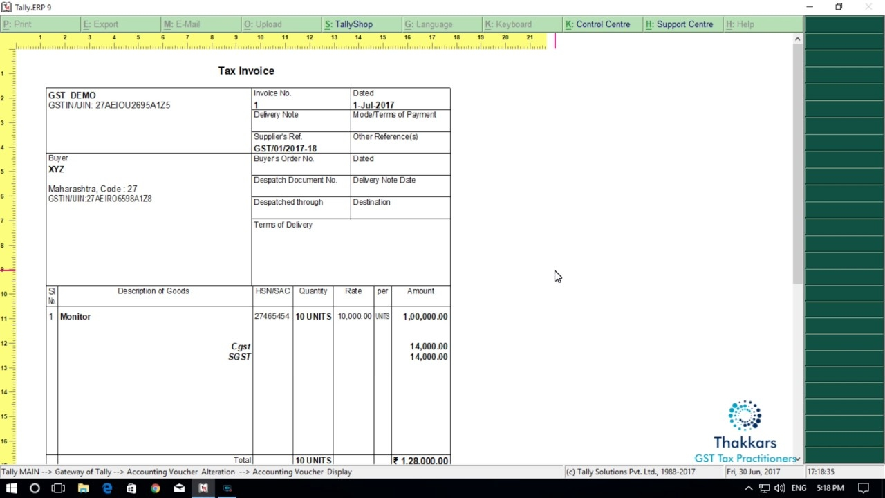 gst accounting in tally erp 9 printing tax invoice from tally erp 9 tax invoice in tally