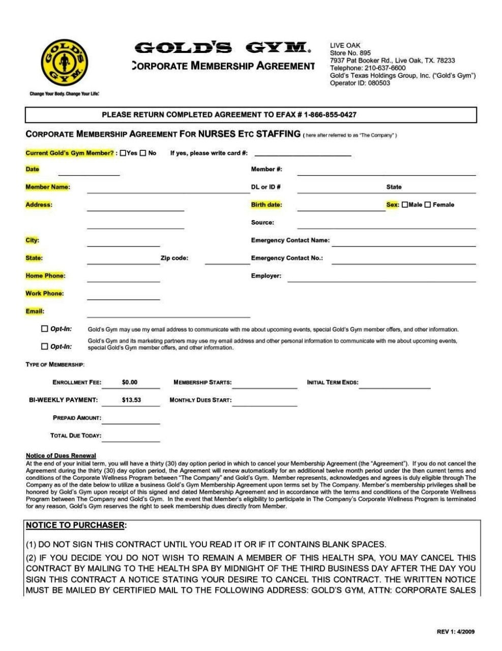 gym contracts togowpartco gym membership receipt template