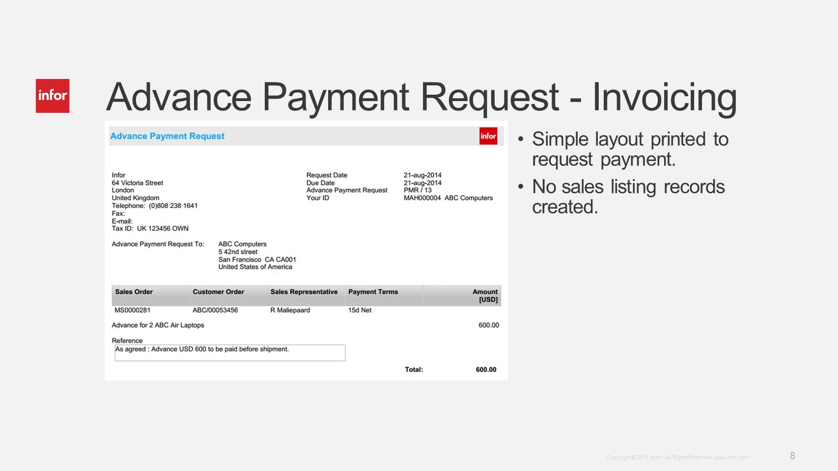 infor ln 104 invoicing advance invoicing enhancements invoice payment 50 advance
