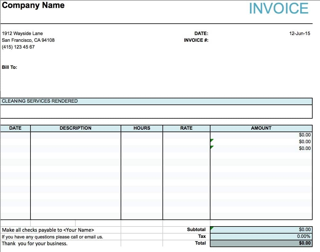 invoice template for cleaning services zohre home cleaning invoice templates