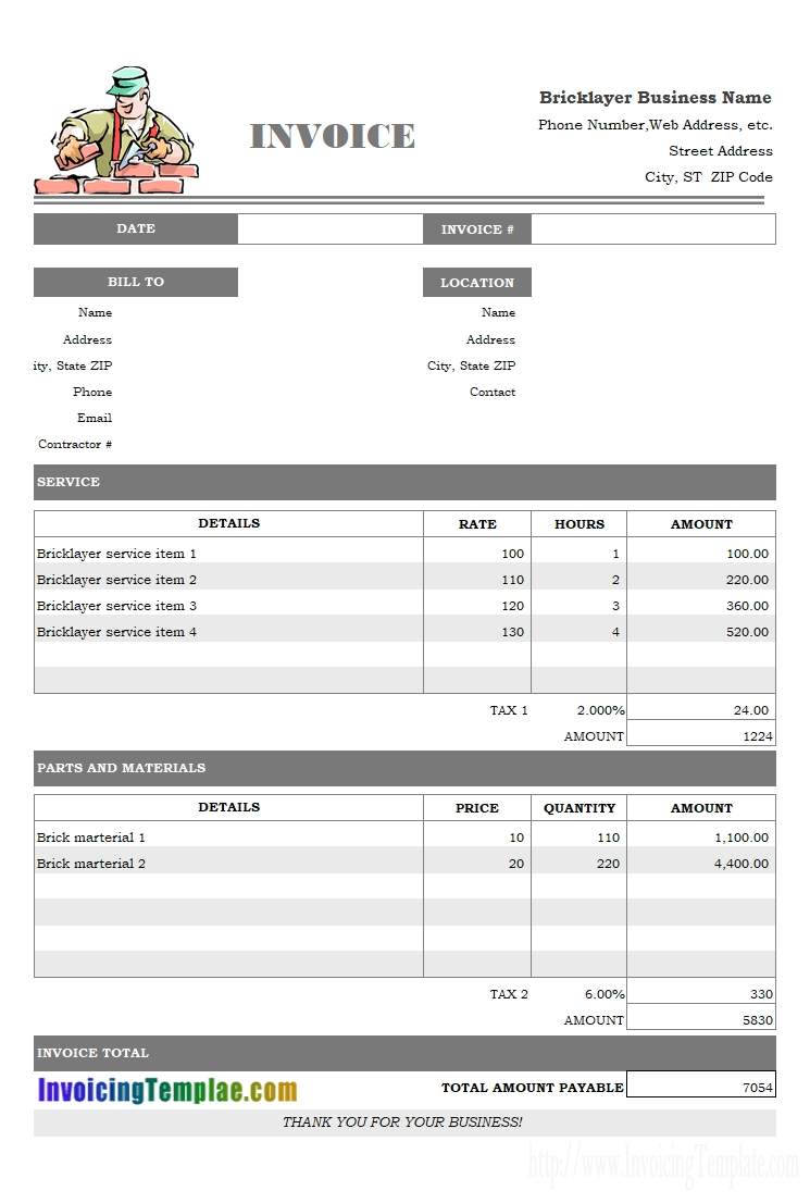 invoice template for word excise duty invoice format in excel