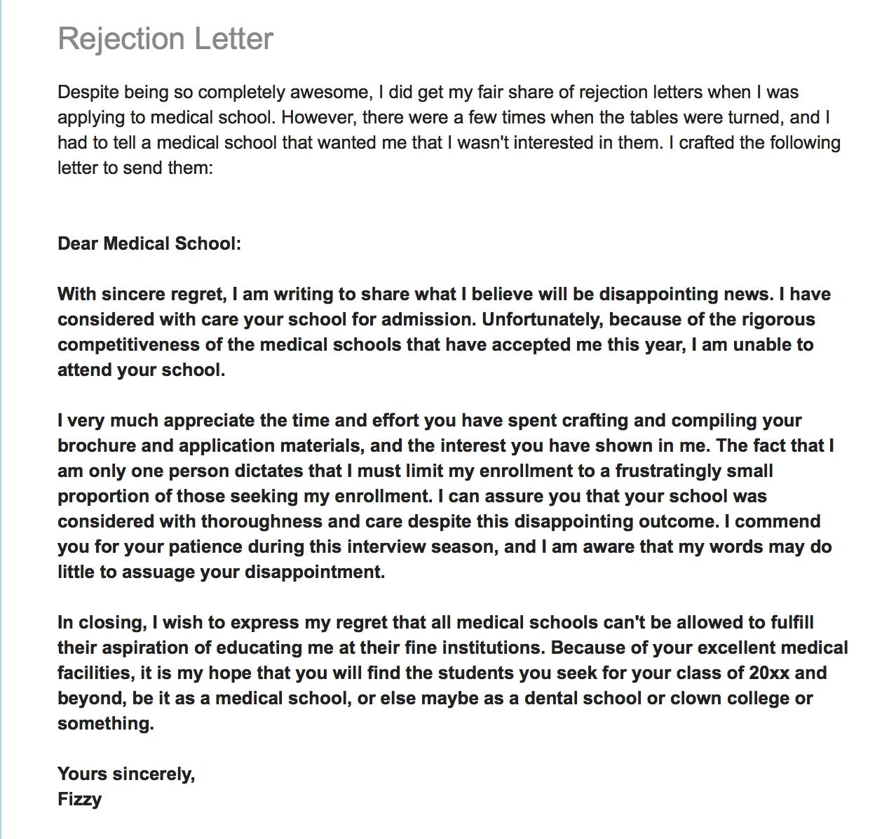 medical school rejection form letter applicant rejecting rejection of bills letter