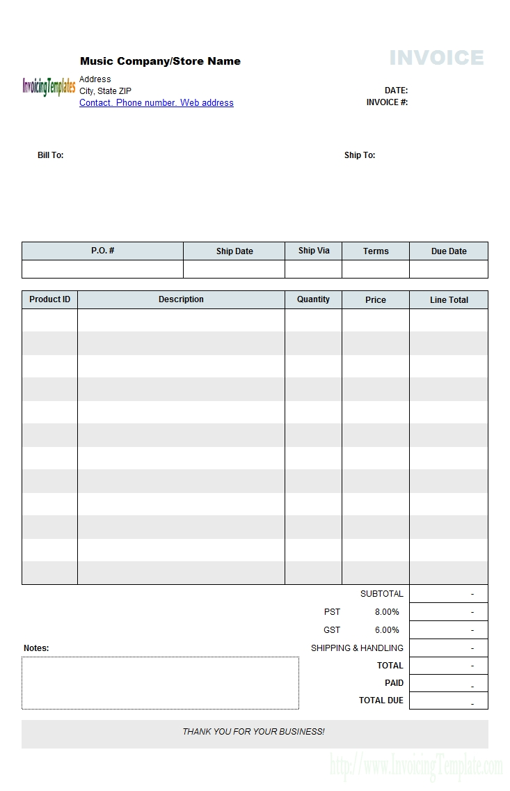 music store invoicing form retail invoice template word best invoice template for word