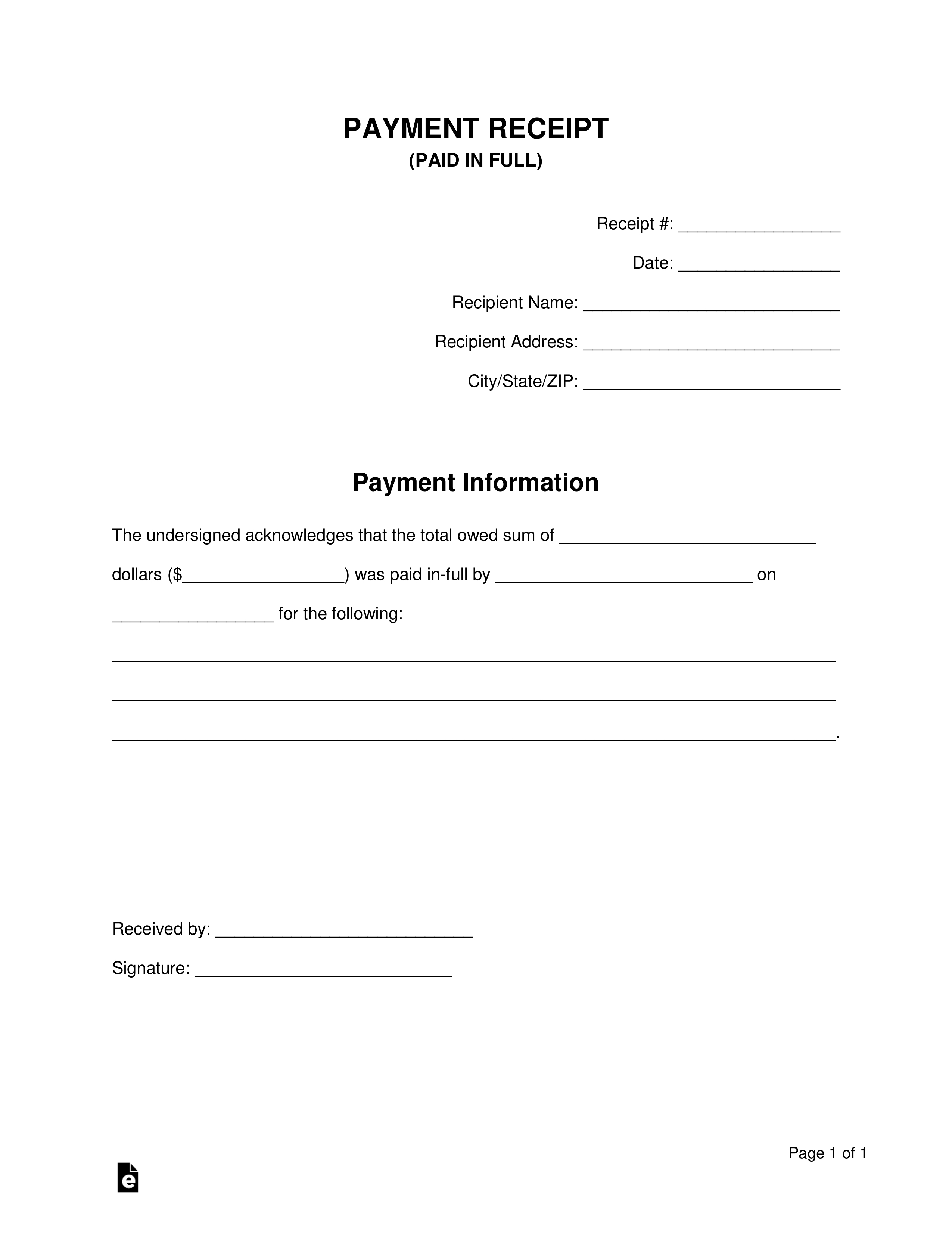 paid in full receipt template eforms free fillable forms example of paid in full invoice