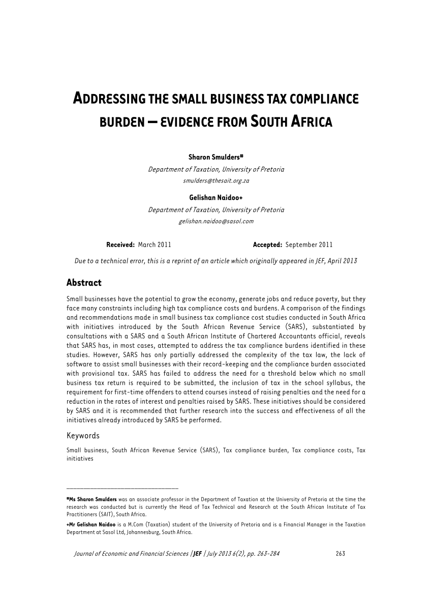 pdf addressing the small business tax compliance burden small business tax section in south africa images