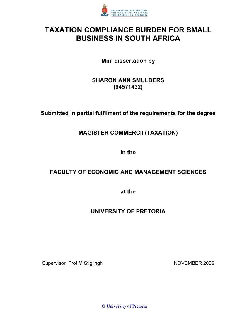 pdf taxation compliance burden for small business in south small business tax section in south africa images