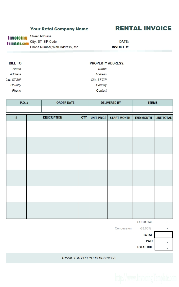 rental invoicing template car rent bill formats
