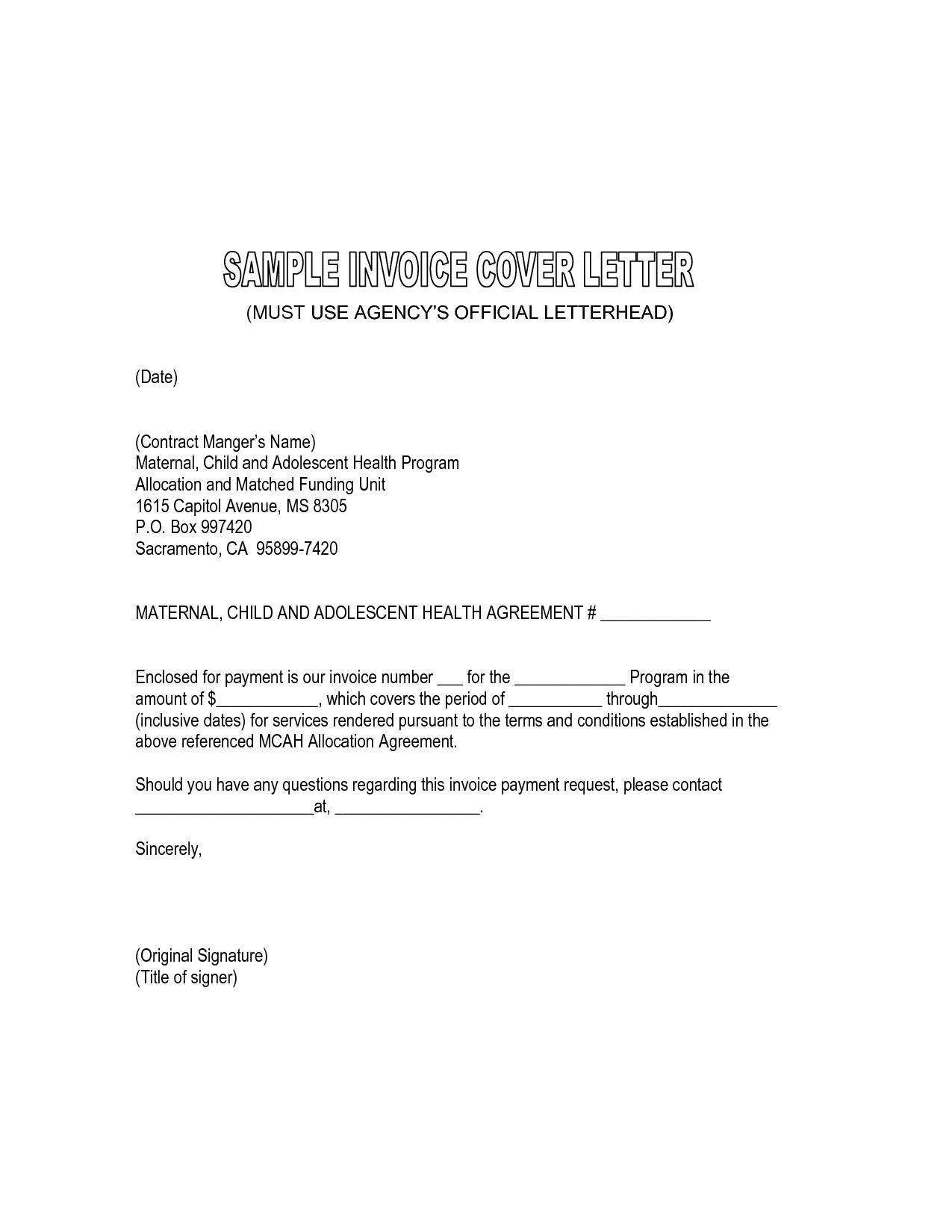 sample invoice letters wpawpartco please find enclosed invoice letter sample