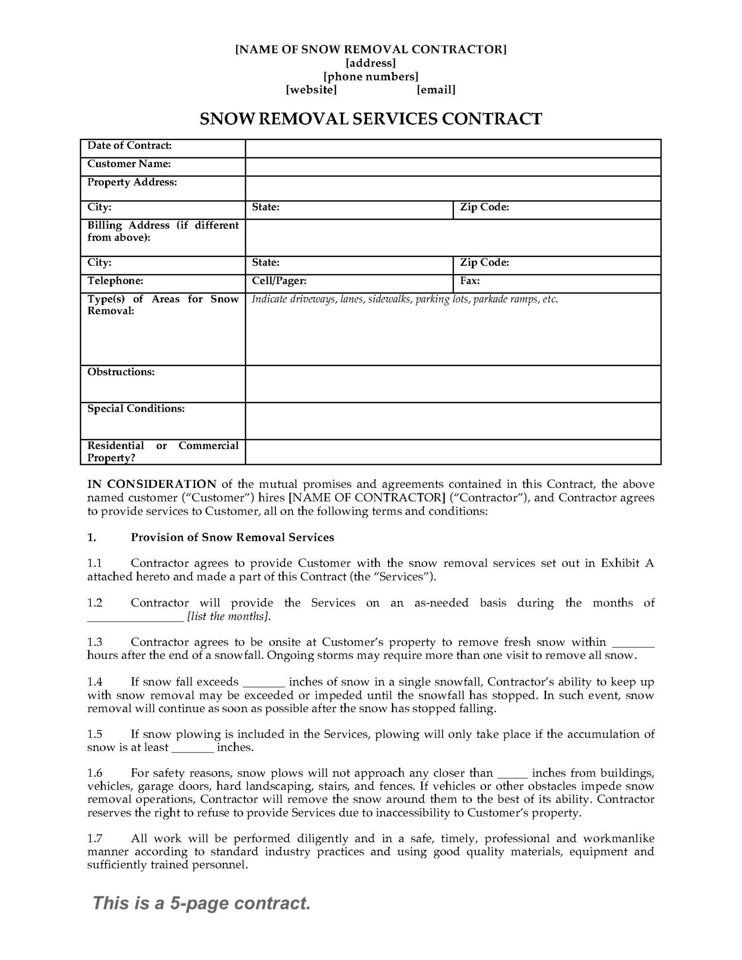 snow removal contract form basic snow plow contract free