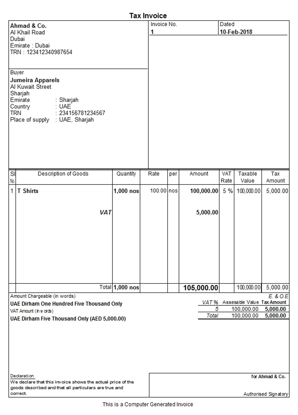 tax invoice to a registered customer under vat in uae tax invoice in tally