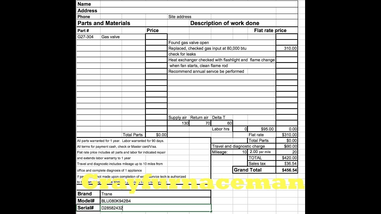 the hvac flat rate invoice plumbing heating & cooling invoices