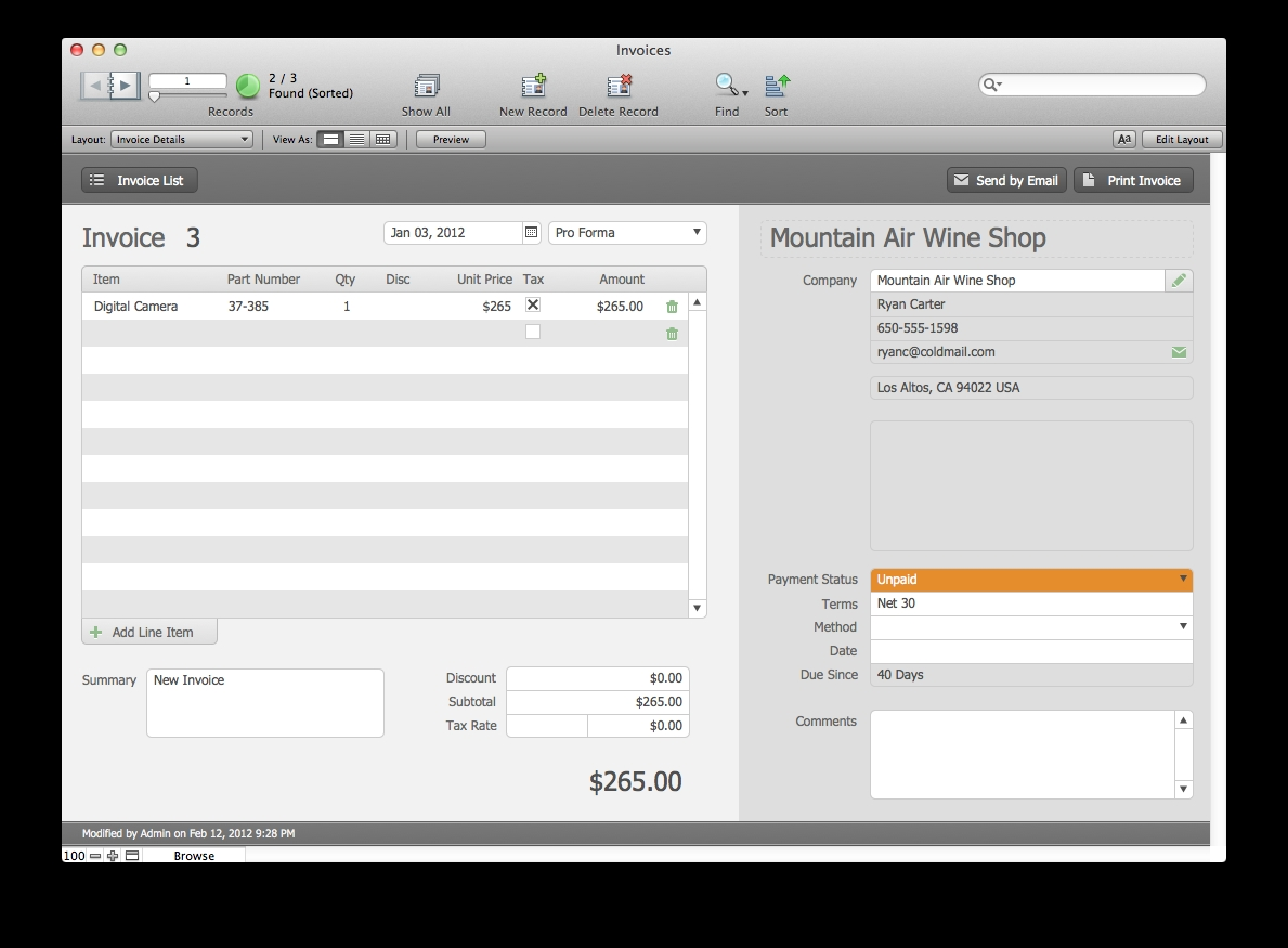the mac office estimates and invoices filemaker pro 12 filemaker 12 invoice template