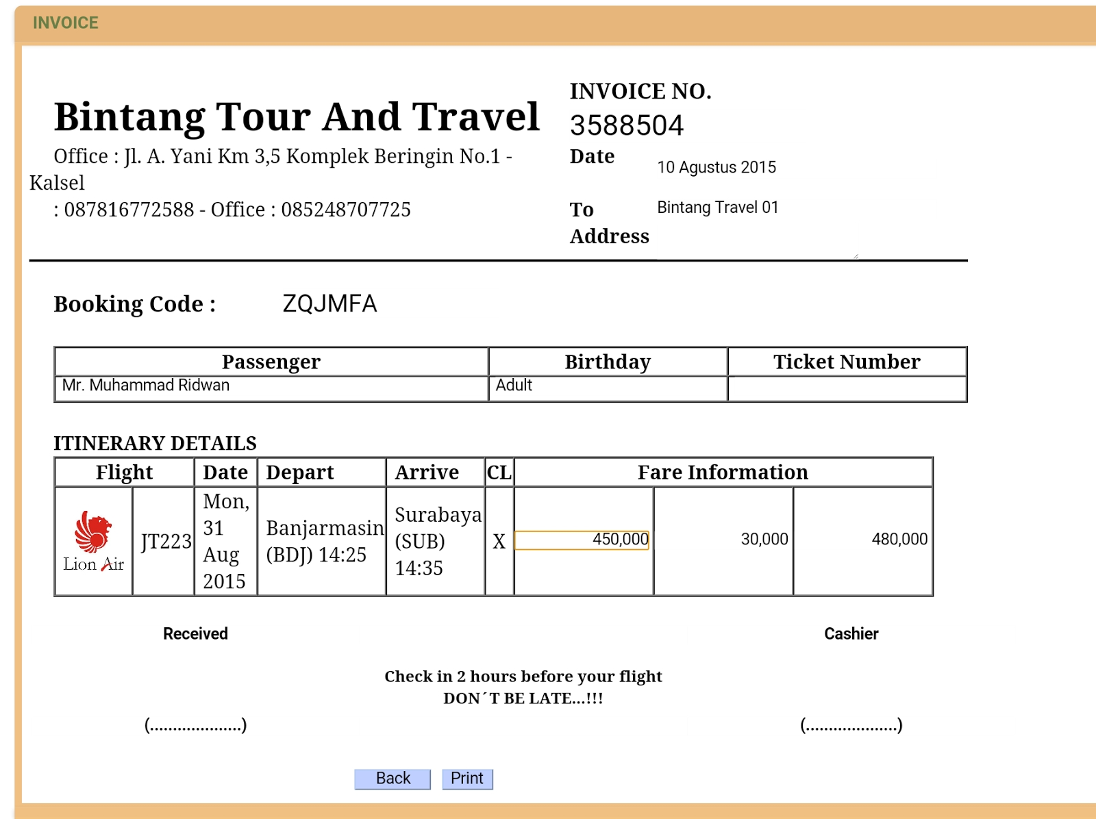 tour bill format kaldebwongco receipt of tour and travels