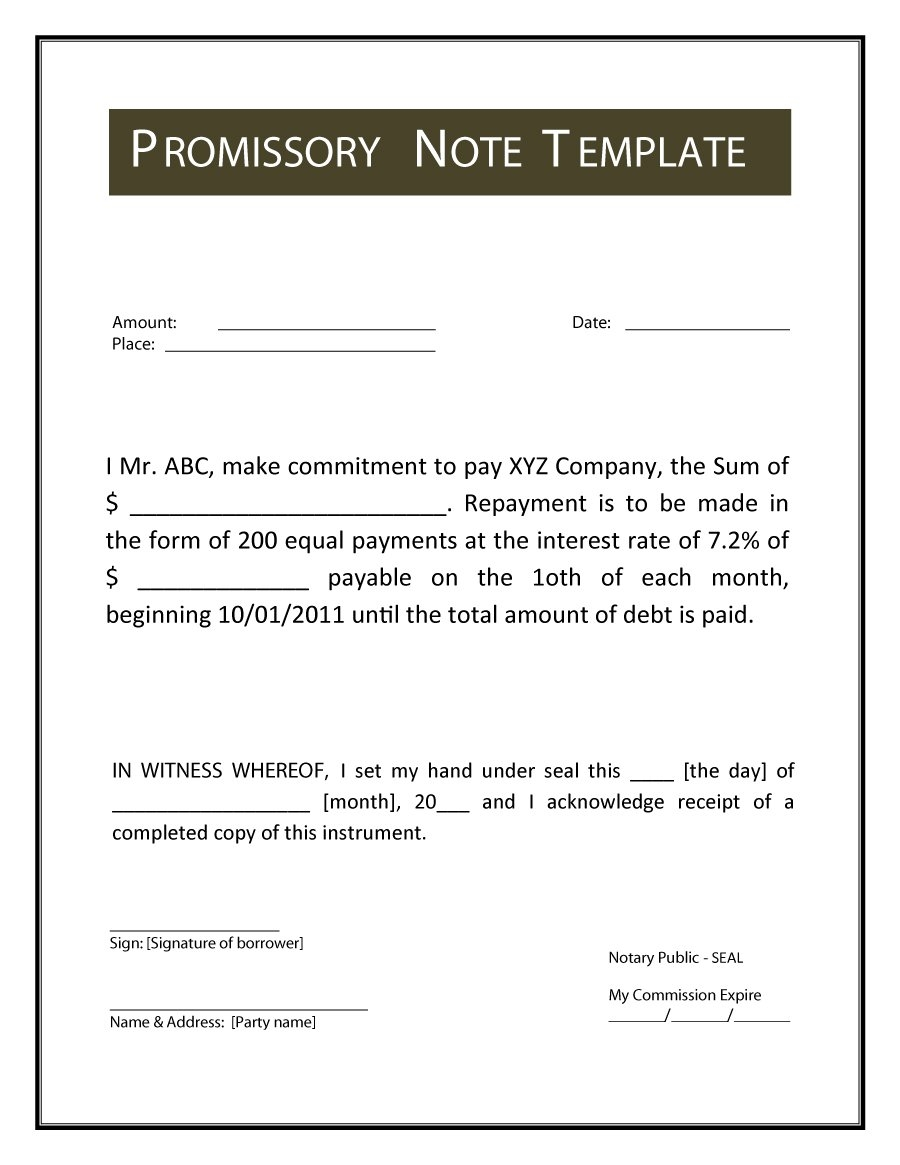 45 free promissory note templates forms word pdf bought note format in india