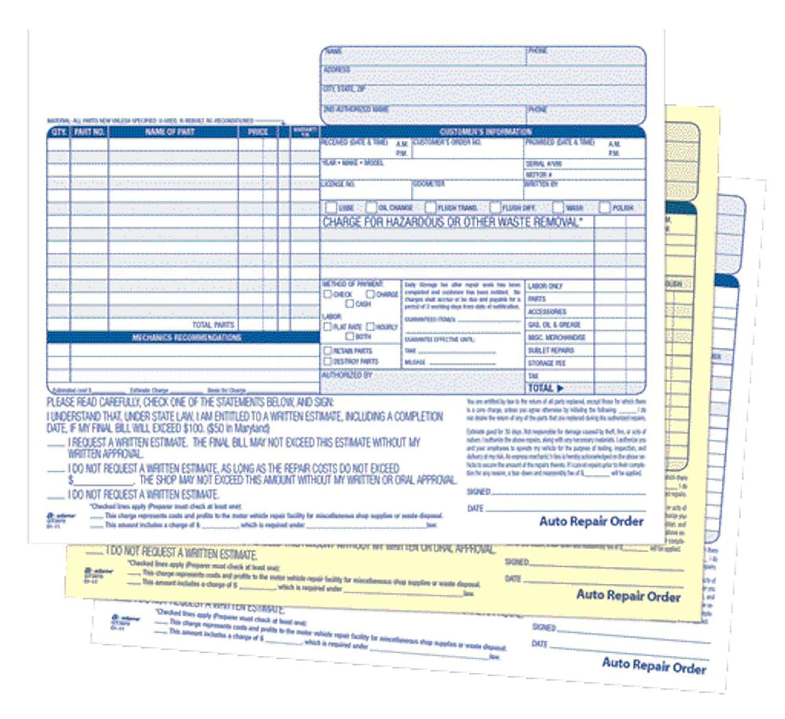 adams 3 part carbonless garage auto order sets 50 unit sets free auto repair forms for transmissions shops